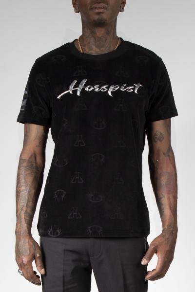 T-shirt chaud en panne de velours noir