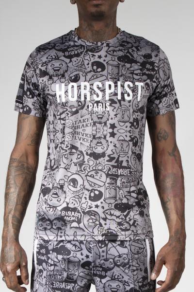 Schwarzes Cartoon-Druck-T-Shirt