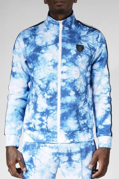 Blau bedruckte Jacke mit Reißverschluss