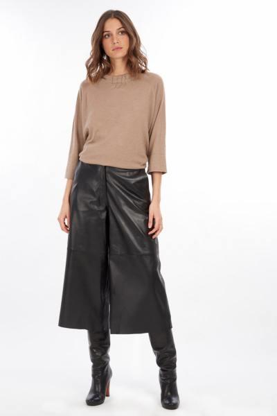 Pantalon en cuir large style jupe-culotte 70's