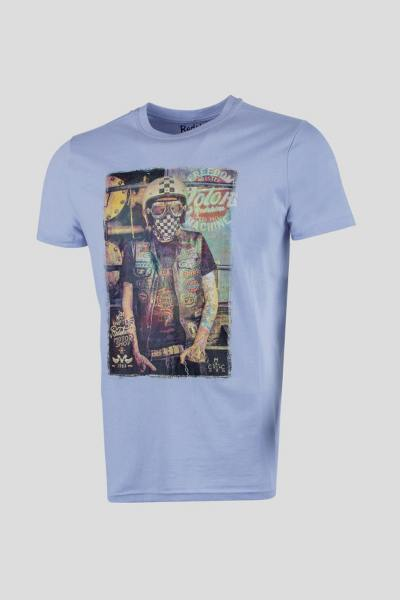 T-shirt tattoo biker blau