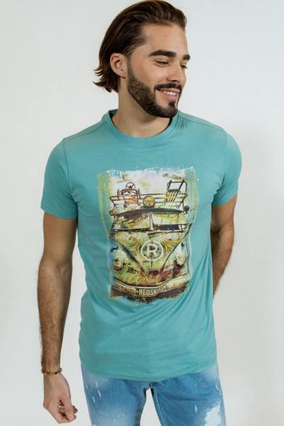 T-shirt bleu turquoise Van Vintage