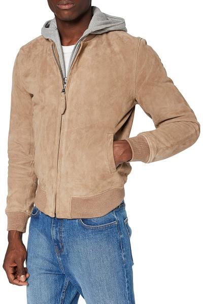 Blouson suédé avec capuche jersey