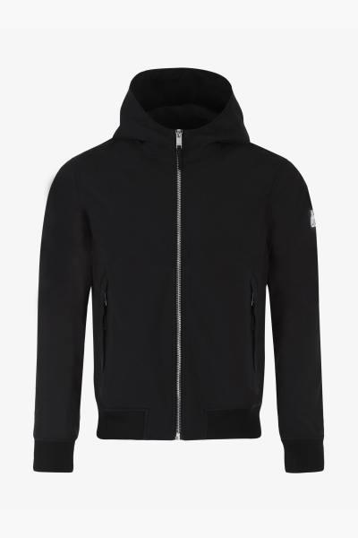 Schwarze Jacke mit Kapuze und Reißverschluss