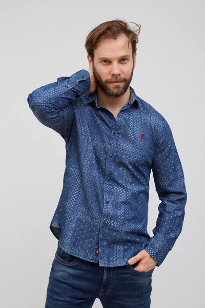 Chemise à motif bandana bleu