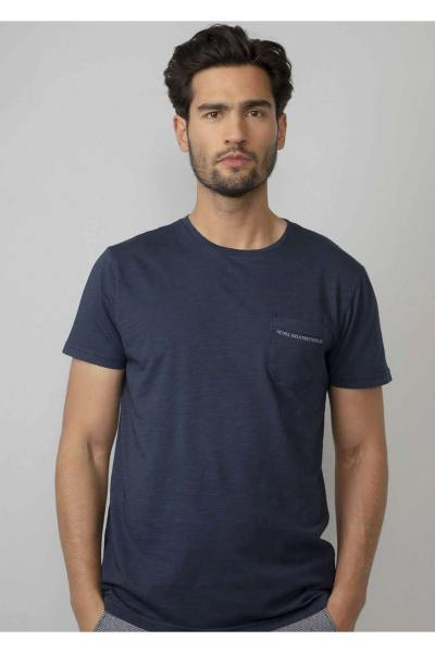 T-shirt uni bleu foncé avec poche poitrine