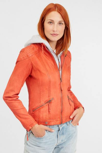 Blouson à capuche en cuir orange
