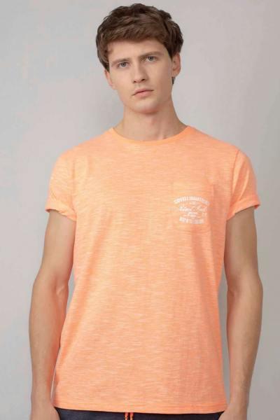 T-shirt homme orange chiné