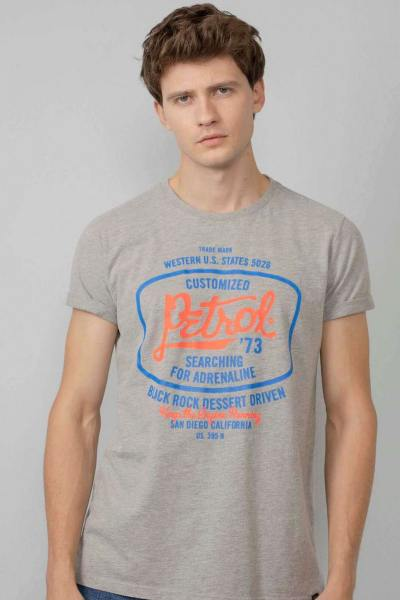 T-shirt gris chiné imprimé poitrine