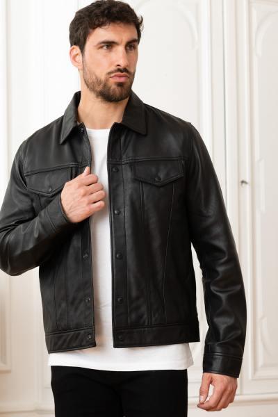 Schwarzes Leder Hemdkragen Jacke