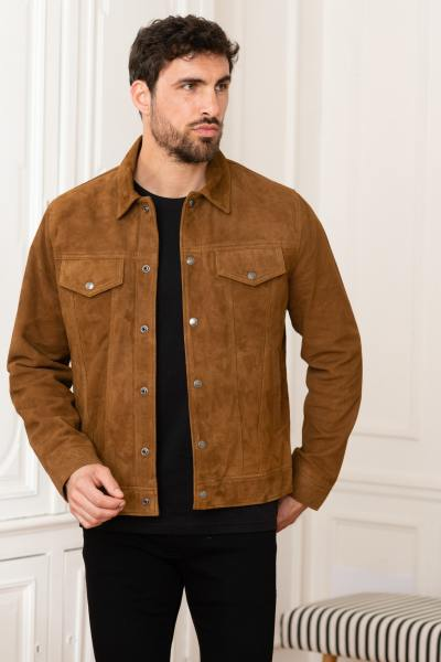 Jeansjacke aus Veloursleder