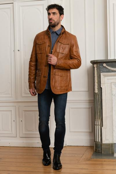 Veste élégante en cuir d'agneau cognac