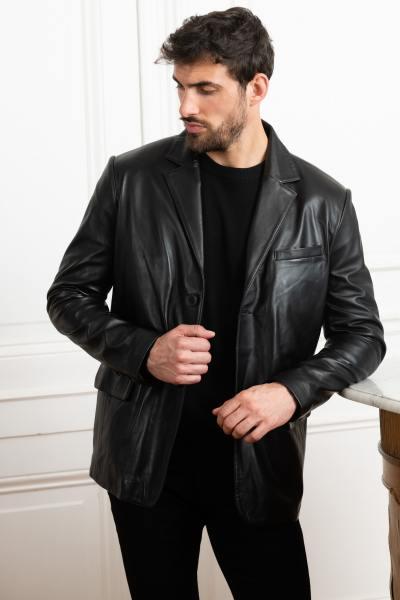 Blazer élégant en cuir noir