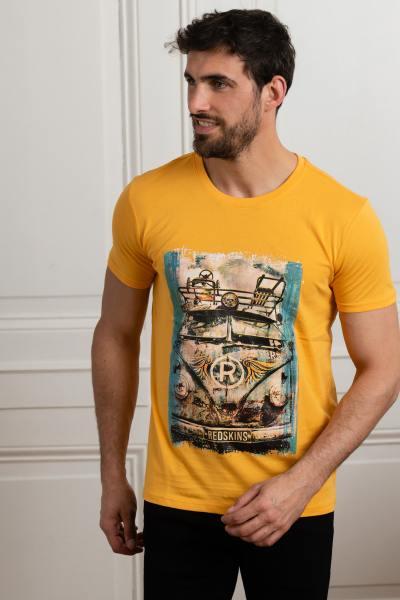 T-shirt jaune foncé motif van vintage