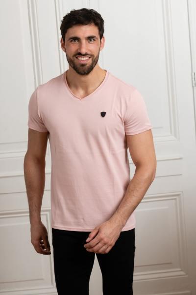 T-shirt rose col V