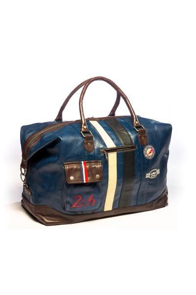 Reisetasche aus blauem Echtleder