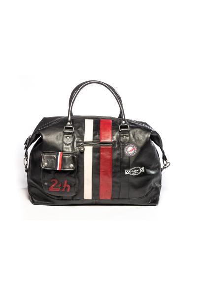 Wochenend-Reisetasche aus echtem schwarzen Leder