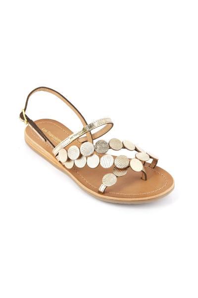 Sandales à entre-doigt en cuir doré