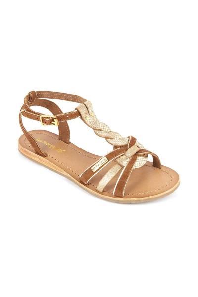 Sandale nu-pied en cuir tan et or