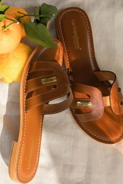 Mules 100% cuir marron