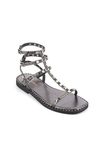 Sandales spartiates grises cloutées