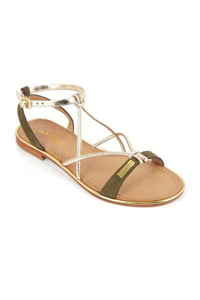 Sandales plates en cuir doré et kaki