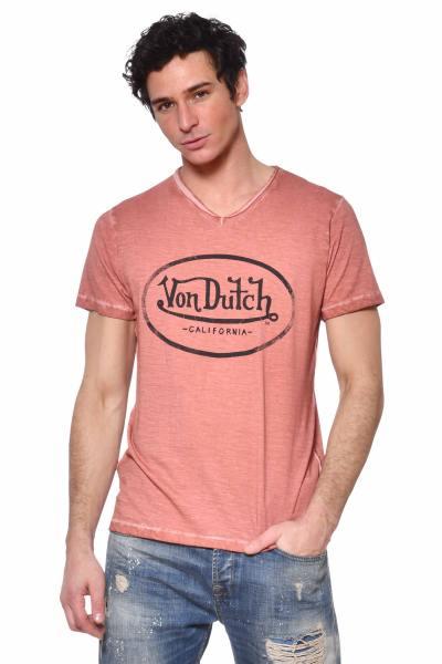 Tee-shirt col V rose chiné