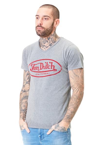 Graues T-Shirt mit rotem Brustlogo