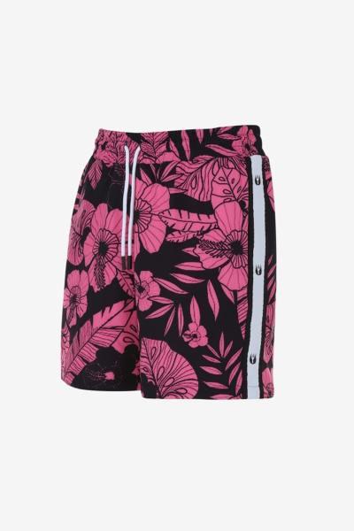 Strandshorts mit schwarzem und rosa Blumenmuster