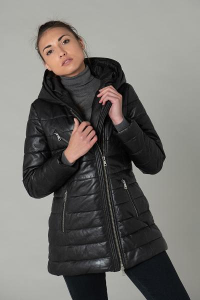 Lange schwarze Lederjacke