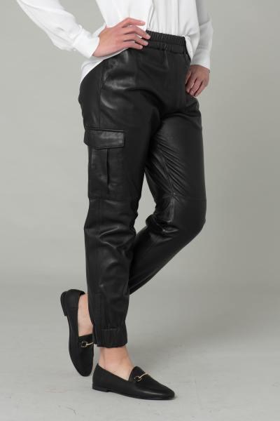 Pantalon en cuir noir style battle