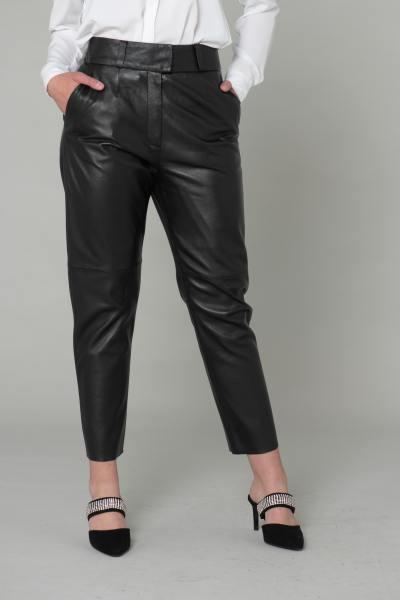 Pantalon en cuir coupe droite