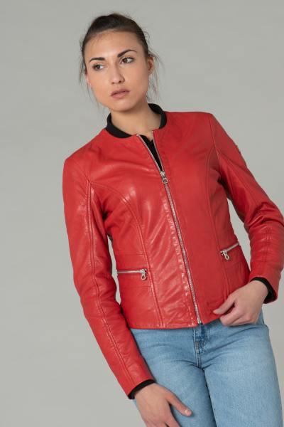 Rote Leder-Rundhalsjacke