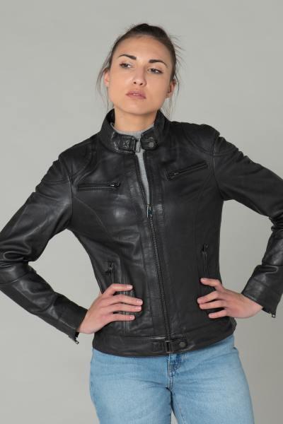 Schwarze Bikerjacke aus Leder