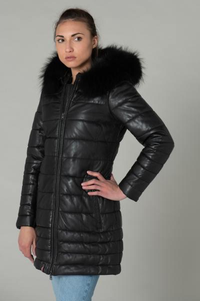 Doudoune femme en cuir de mouton noir avec fourrure noire