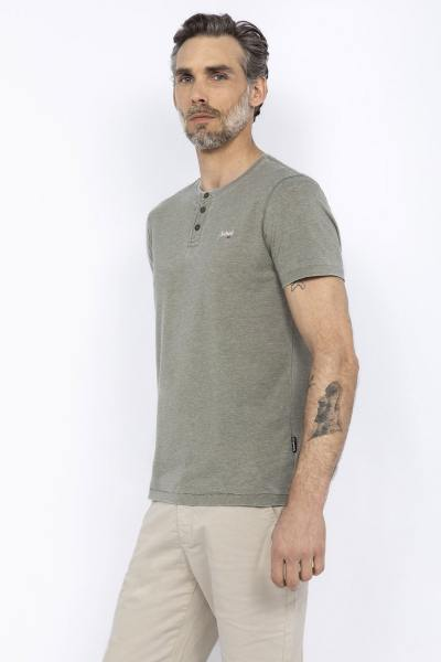 Khaki-T-Shirt mit ausgewaschenem Effekt
