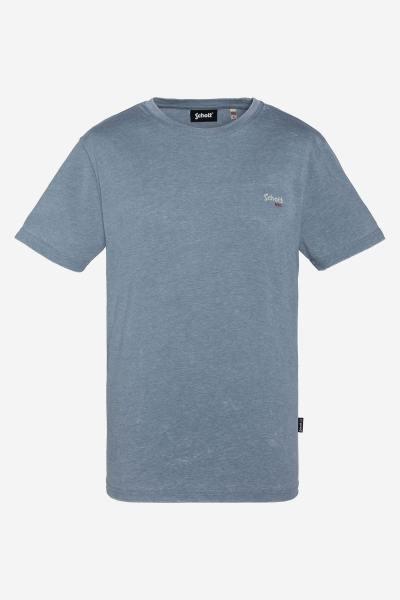 Azurblaues T-Shirt mit Wascheffekt