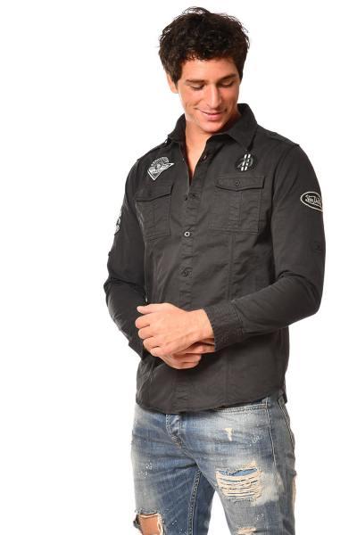 Chemise homme noire patchée