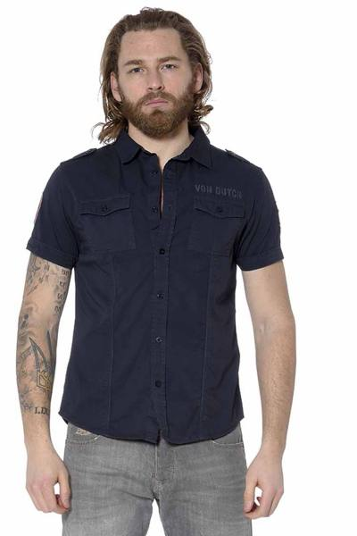 Chemise bleu marine manches courtes