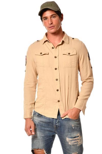 Chemise à manches longues beige