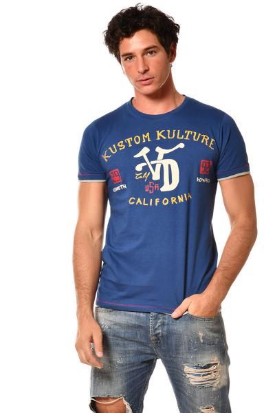 T-shirt bleu Kustom Kulture