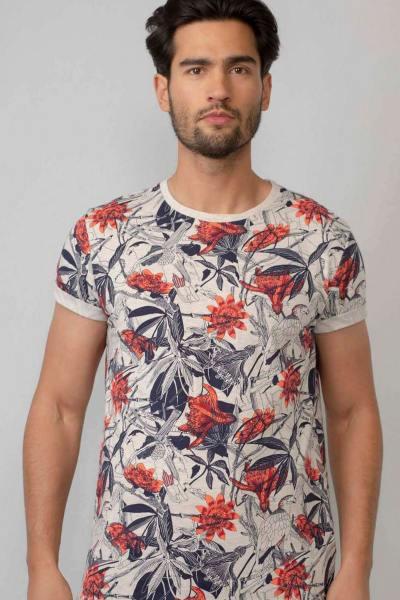 T-shirt manches courtes imprimé floral homme