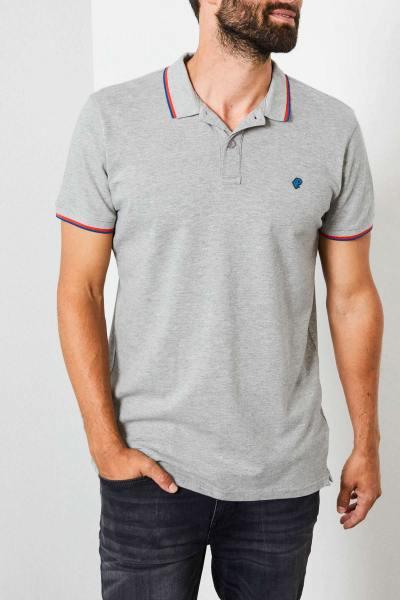 Graues Poloshirt aus Stretch-Baumwolle