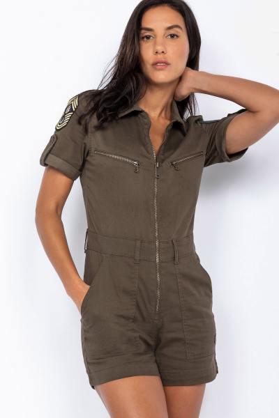 Combi-short style militaire kaki