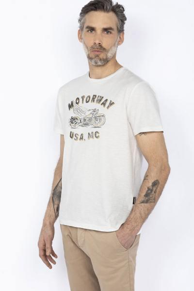 Weißes T-Shirt im Biker-Stil