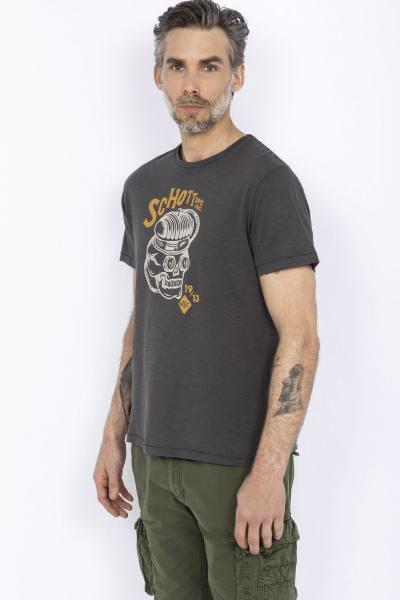 Holzkohlengraues Biker-T-Shirt