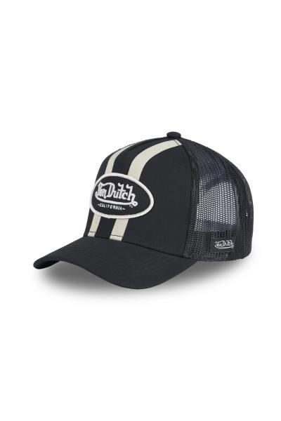 Schwarze Kappe mit weißen Linien