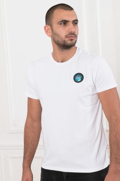 Weißes Rundhals-T-Shirt