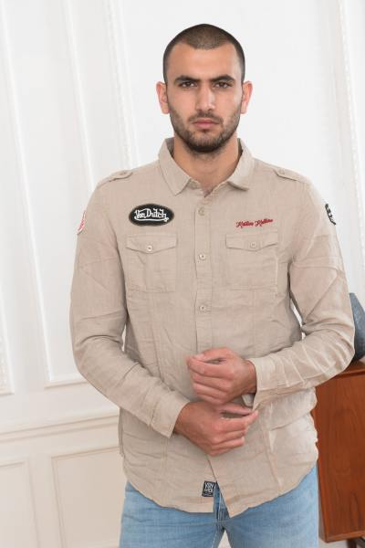 Chemise beige style militaire