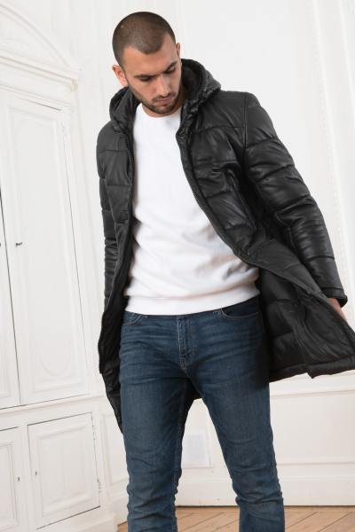 Longue doudoune en cuir noir homme